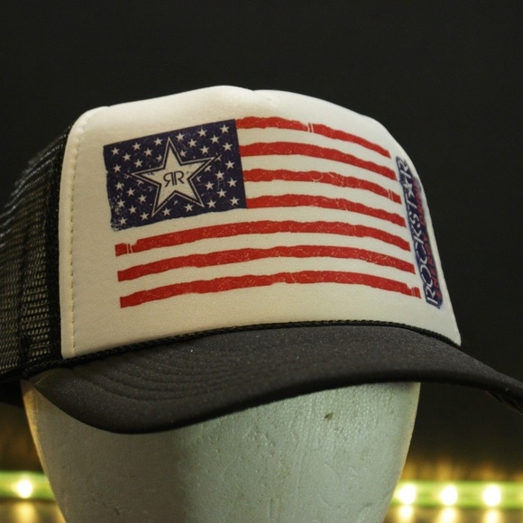 514dc0e0084 ... clearance rockstar energy drink trucker hat american flag b31ee 49afe